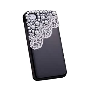 NEW FASHION Hand Made Lace and Pearl Black Hard Case Cover for iPhone 4 4G 4S