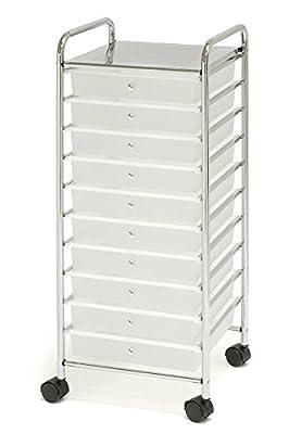 10-Drawer Organizer Cart, White