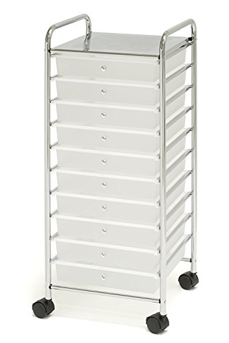 10-Drawer Organizer Cart, White by Seville Classics
