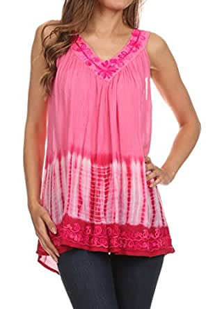 Sakkas 725 Ombre Tie Dye Gauzy Crepe Sleeveless Relaxed Fit Blouse - Darkpink - One Size