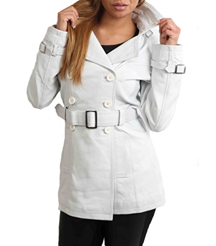 Ladies Double Breasted Mid Length Trench Leather Reefer Coat Sienna White (X-Large)