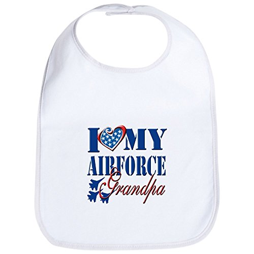 CafePress - I Love My Airforce Grandpa Bib - Cute Cloth Baby Bib, Toddler Bib (Air Force Bib)