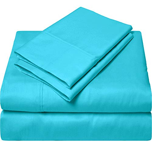 Queen Sheets Luxury Soft 100% Egyptian Cotton -Exotic Bedding Collection Bed Sheet Set for Queen Mattress Turquoise Blue Solid 15