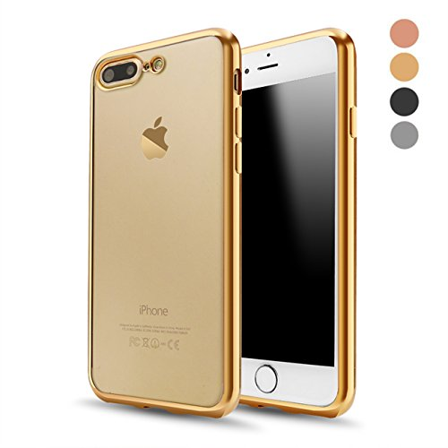 iPhone 8 Plus Case, iPhone 7 Plus Case, RLINGX Soft TPU Gel Bumper Cover Shell[Support Wireless Charging] [Slim Fit]Style Clear Protective Case for Apple iPhone 8 Plus 5.5 In(Gold)