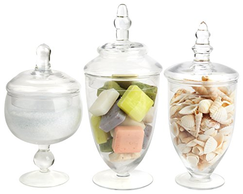 Mantello Decor Glass Apothecary Jars (Clear, Small, Set of 3) (Cookie Jars Set)