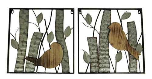 Zeckos Rustic Birds and Branches 2 Piece Wood and Metal Wall Sculpture Set ()