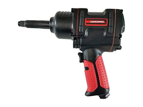 (AEROPRO USA AAP7445L 1/2 in Heavy-Duty Twin Hammer Air Impact Wrench with Long Shank, 3 in)