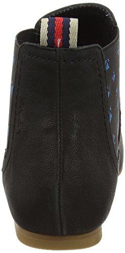 LiKing 15-002 Damen Chelsea Boots Echt Leder Schwarz
