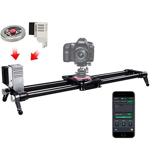 ASHANKS Electric Camera Slider,ASHANKS Motorized with Handle Flywheel Bluetooth APP Control Carbon Fiber Track Dolly Rail TimeLapse and Video Shot Slider for DSLR Cameras