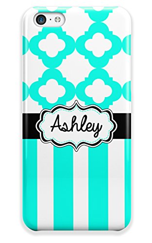 Personalized monogram girly iPhone 5c case - Light turquoise aqua stripes with quatrfoil design and your custom name or initials - monogrammed case for Iphone 5c case fits all (Pretty Tweens)