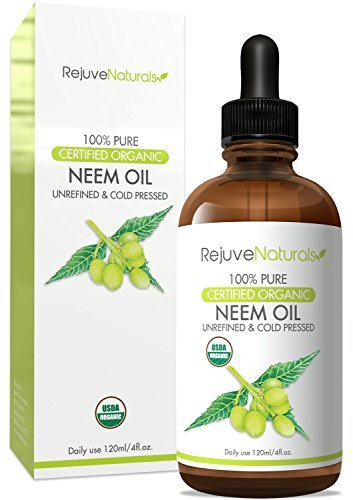 Neem Oil (4oz) USDA Certified Organic, 100% Pure, Cold Pressed, by RejuveNaturals. Nail Fungus Treatment, Psoriasis Treatment & Eczema Relief. For Hair & Skin. Flea & Tick Prevention for Dogs & Cats
