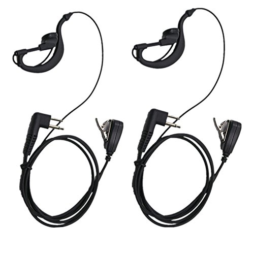 Lsgoodcare 2 Pin Advanced G Shape Earhook Police Headset Headset Earphone PTT and Mic Compatible for Motorola Two Way Radio CP040 CP200 CP100 CLS1110 GP2000 VL50 Security Walkie Talkie,Pack of 2 ()