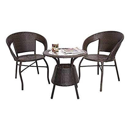 WICKER HUB GC05 Outdoor Set 2 Chair 1 Table Two Tone Brown