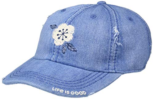 Life is Good Sunwashed Chill Cap Denim Flower, Denim Blue, One Size