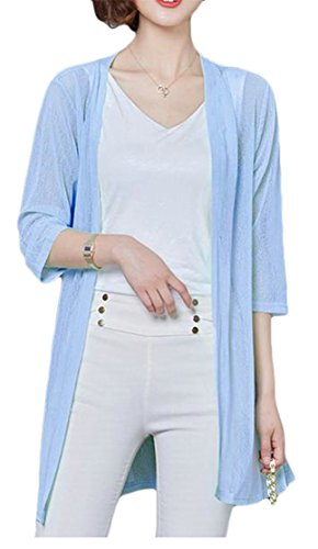 Pandapang Womens 3/4 Sleeve Coat Lightweight Basic Thin Open Front Cardigan Sky Blue M (Advance Coat Sleeve 3/4)