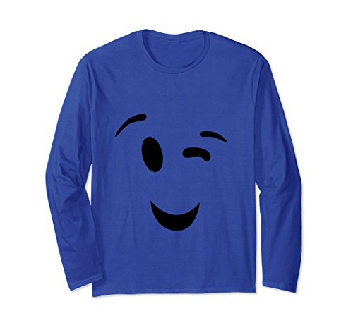Unisex Funny Halloween Long Shirt Big Face Blinks Eyes Cotume XL: Royal Blue