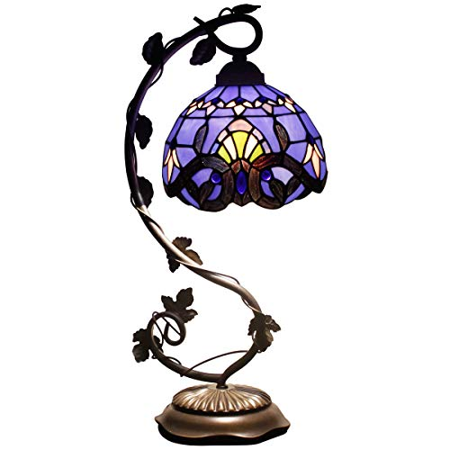Tiffany Desk Lamp Lavender Stained Glass Table Light Blue Purple Baroque Style W8 H22 Inch for Living Room Bedroom Dresser Bookcase Coffee Table Beside Reading Set S003C ()