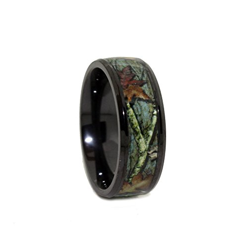 #1 Camo Black Titanium Wedding Ring - 8mm Black Rings - Outdoor Hunting Black Band - Ring Size 11 (Real Tree Wedding Ring Set)