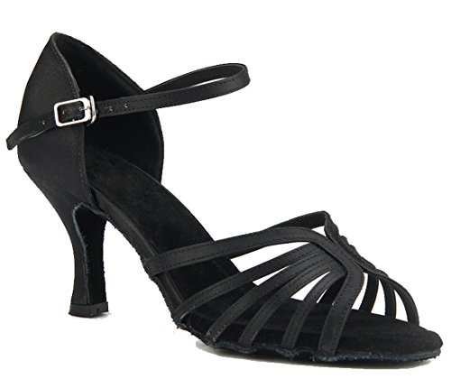 Tda Donna Moda Peep Toe Single Strap Stile Raso Salsa Tango Samba Moderno Scarpe Da Ballo Latino Nero-7.5cm Tacco