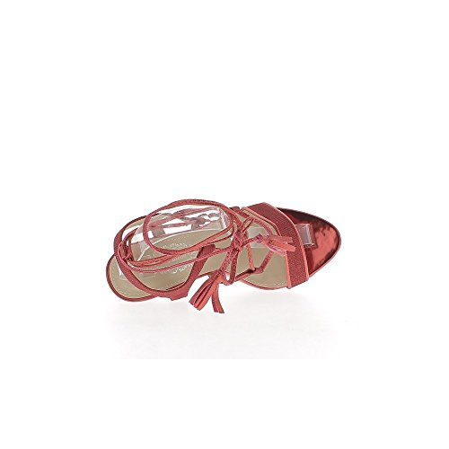 Mentira rojo sandalias tacón de 10cm del extremo y cordones