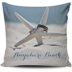 Fanaing Blue Customizable Sunny Beach with Starfish Rings Pillowcase Home Sofa Decorative 26X26 Inch European Throw Pillow Case Decor Cushion Covers One-Side Printed