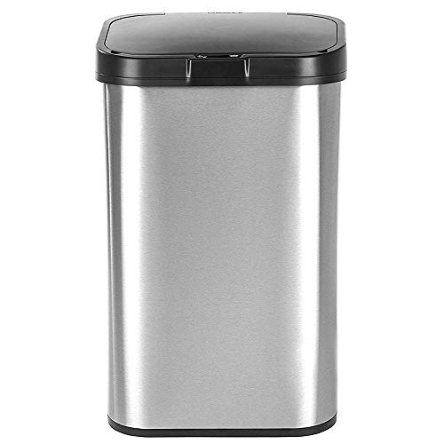 Garbage Can for Kitchen Touchless 16 Gallon Automatic Stainless Steel Water Resistant Receptacle Waste Rubbish Wastebasket Kitchen Stainless Steel Sensor Activated Lid Space Saving & eBook by NAKSHOP