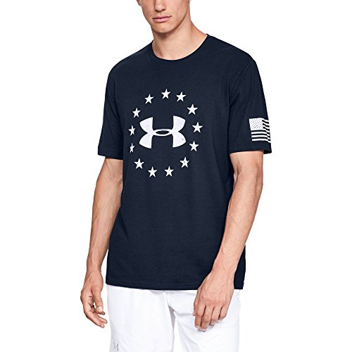 Under Armour Men's Freedom Logo Tee, Academy (408)/White, XXX-Large