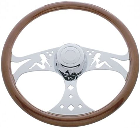 On//Semi Truck 18 Chrome Lady Design Steering Wheel United Pacific Kenworth 2001