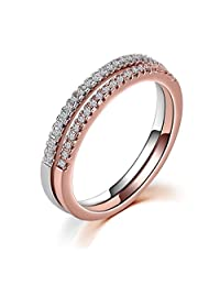 Aienid Women Eternity Rings Sets Stainless Steel Channel Ring White Crystal Wedding Bands Size 4-11.5
