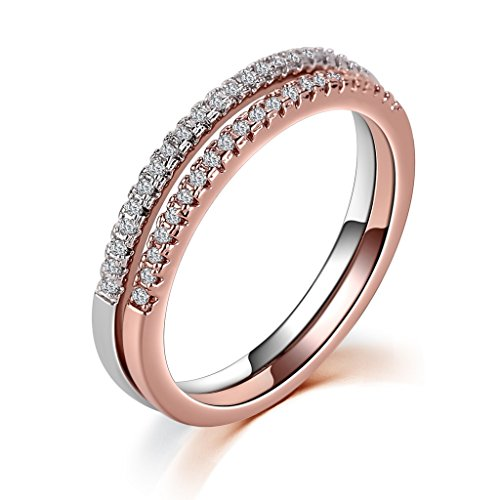 Aienid Girls Pinky Joint Rings Sets Zirconia 2 Tones All-Around Band Ring Stacking Rose Gold Black Size 7