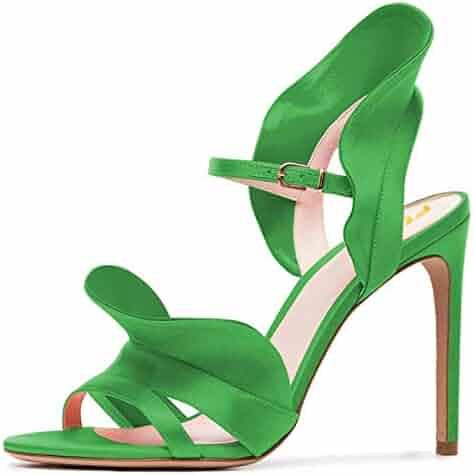 1eba95d86e FSJ Women Dressy Open Toe Stiletto High Heel Ankle Strap Satin Sandals with  Ruffles Size 4