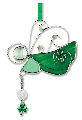 Irish Angel Suncatcher Stained Glass Ornament with (Stained Glass Shamrock Suncatcher)