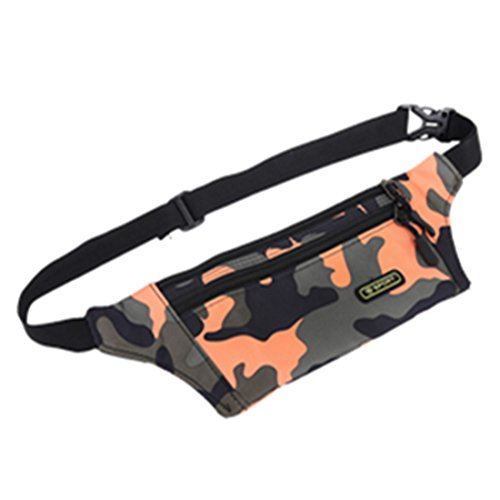 - Waterproof Sports Stealth Small Ultra-thin Lightweight Running Waist Bag Pack (Camouflage Orange)