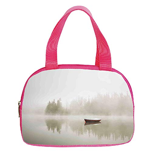 Polychromatic Optional Small Handbag Pink,Landscape,Boat on The Lake with Silhouettes of Trees on The Water Morning Fog Sky Nature Art Decorative,Eggshell,for Girls,Print Design.6.3
