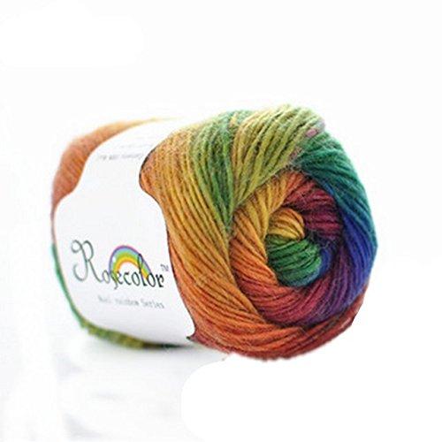 Celine lin One Skein 100% Wool Rainbow Series Hand knitting Yarn 50g,Multi-colored01