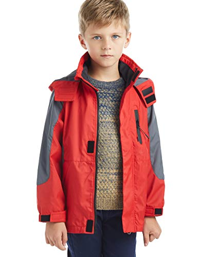 - BYCR Boys' Hooded Lightweight Windproof Rain Jacket Coat Kids Age 5-16 Years (160 (Size 12), red)