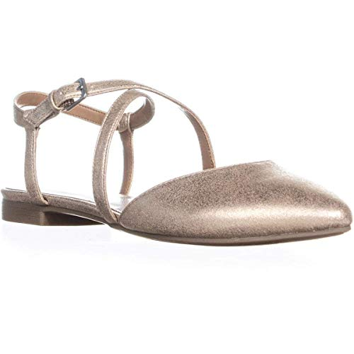 (Indigo Rd. Womens Genetic 2 Ankle Strap Pointy-Toe Flats Gold 9 Medium (B,M))
