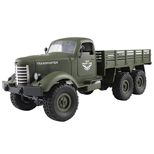 (HighlifeS JJRC Q60 RC 1:16 2.4G Remote Control 6WD Tracked Off-Road Military Truck Car RTR (green))