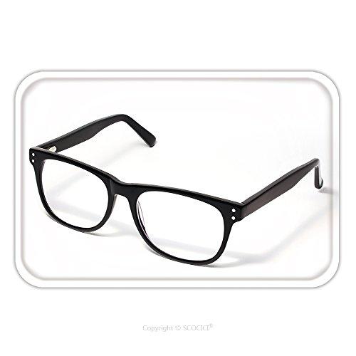 Flannel Microfiber Non-slip Rubber Backing Soft Absorbent Doormat Mat Rug Carpet Black Eye Glasses Isolated On White 124979924 for - Spots Eyeglasses On White