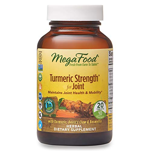 MegaFood, Turmeric Strength for Joint, Maintains Joint Health and Mobility, Vitamin and Herbal Dietary Supplement, Gluten Free, Vegan, 20 Tablets (10 Servings) (FFP)