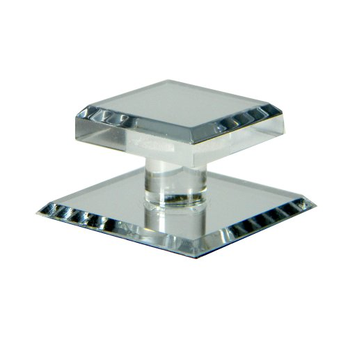 Mirart 1-1/2 x 2 Pull Handle, Self Stick Square Acrylic Mirror Knob (1) - Edge Pull Backplate