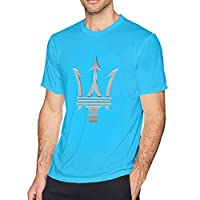 HANRUI Design Maserati Logo T Shirts for Boyfriend 100% Organic Cotton Short Sleeve Spider Baby Blue