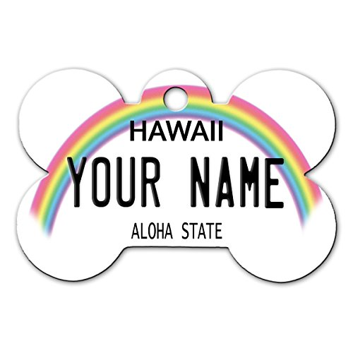 BleuReign(TM) Personalized Custom Name Hawaii State License Plate Bone Shaped Metal Pet ID Tag with Contact Information