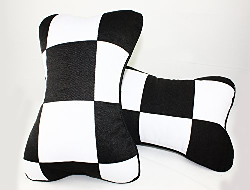 Cuztom Tuning PAIR BLACK WHITE CHECKERED FLAG SEAT HEADREST CUSHION PILLOW FOR 2002-2018 MINI COOPER