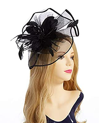 Fascinator Hat,Aiskki Fascinator Headband Feather Mesh Net Hat With Hairband and Gift Gloves,Tea Party Headwear,Flower Derby Hat with Clip,Kentucky Derby Hats for Women (BLACK)