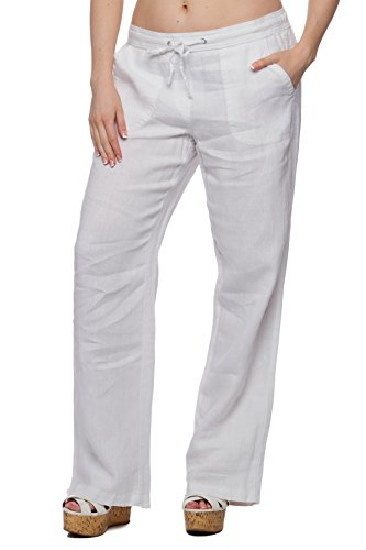 Missy Women's Wide bottom Linen pants with pockets White L