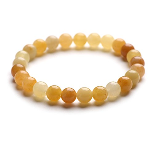 Gemstone Yellow Bracelet (iSTONE Gemstone Bracelets Natural Genuine Gemstones Birthstone Handmade Healing Power Crystal Beads Elastic 7.5 Inch Unisex (8mm, Yellow Jade) 204703040)