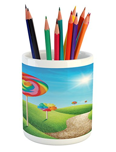 Ambesonne Fantasy Pencil Pen Holder, Fantasy Candy Land With
