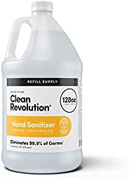 Clean Revolution Dreamy Citrus Liquid Hand Sanitizer {70% Alcohol}, Refill Bottle, 128 Fluid Ounce Ready to Us