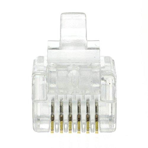CableWholesale RJ12 6P6C Crimp Plug for Flat Cable (31D0-6P6CF)